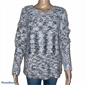 Tribal shaggy popcorn knit sweater
